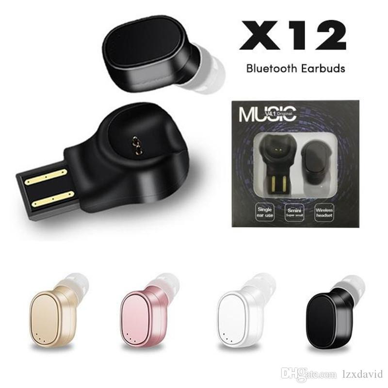 X12 Fone De Ouvido Sem Fio Para Orelha Única Mini Fone De Ouvido Bluetooth Portátil Com Caixa De Carregamento Do Microfone De Ouvido Intra-auriculares Caixa De Varejo