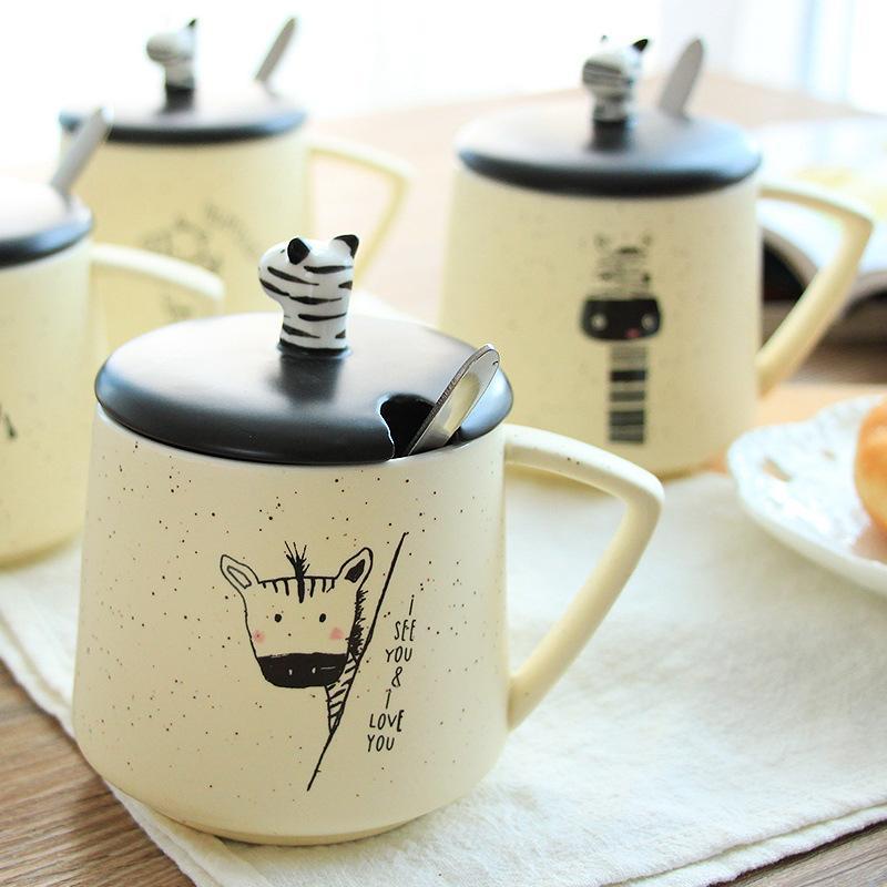 400 ml creativos múltiples patrones de dibujos animados lindo taza de cerámica estudiante taza de agua con tapa tapa animal taza Drinkware leche