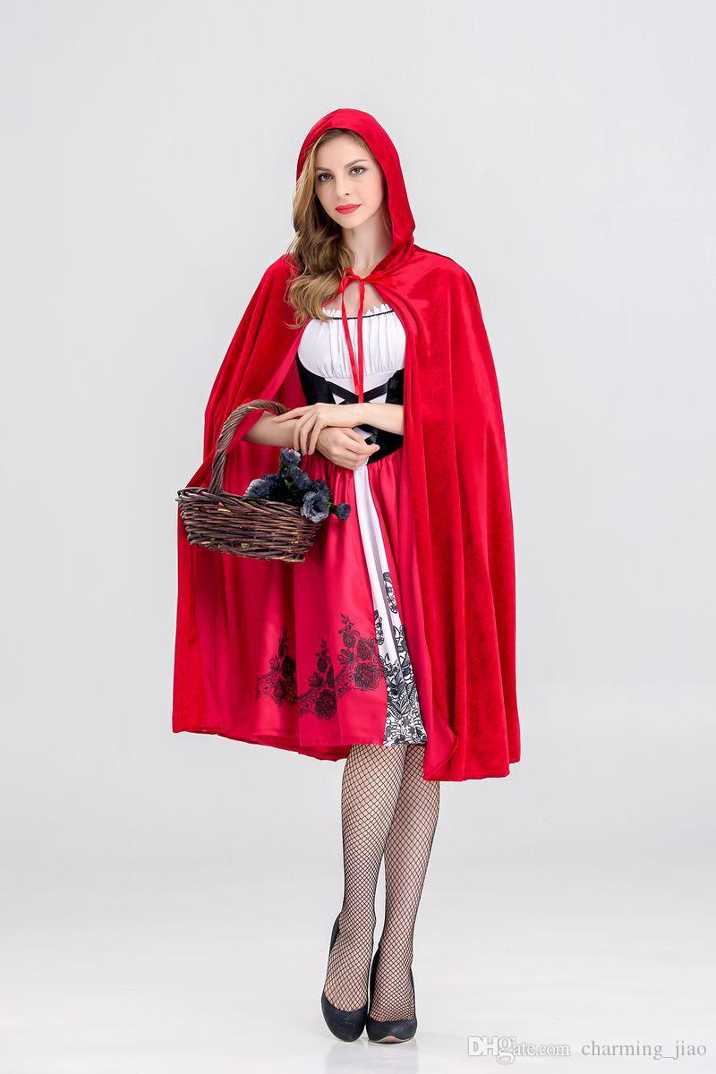 Little Red Riding Hood Cloak Cap Costume Dress Halloween Print Red Dress Castle Queen Cosplay Female Party Costumes Sets Dress