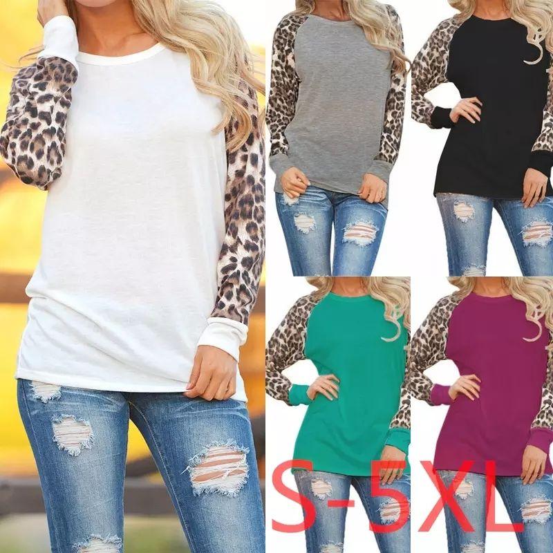 5XL Женщины Лоскутная Леопард Футболка Плюс Размер Весна Осень Рубашка Одежда Леди Повседневная Сексуальная Сращивания Шифон С Длинным Рукавом Топ AAA1239
