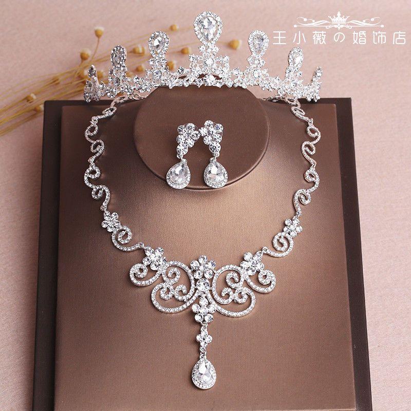 Joyería nupcial de plata brillante nupcial conjunto corona tocado collar pendiente Accesorios de boda Bling Bling Nueva llegada Cristales Tocados