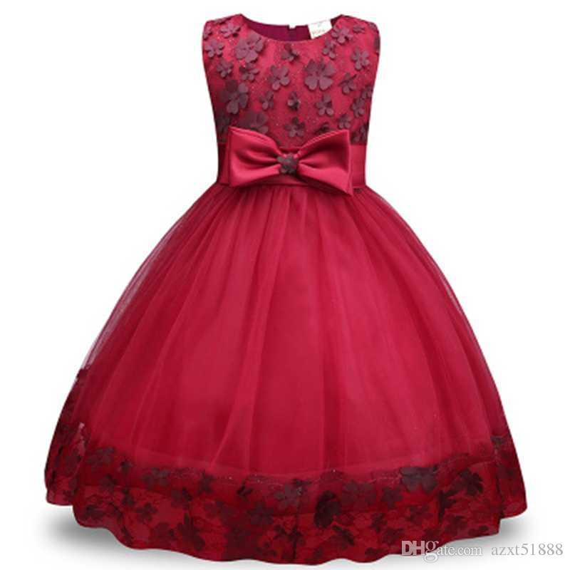 2018 новые дети партия одежда Принцесса костюм для девочки пачка младенческой 3-10 лет День Рождения платья девушка лето Красный одежда