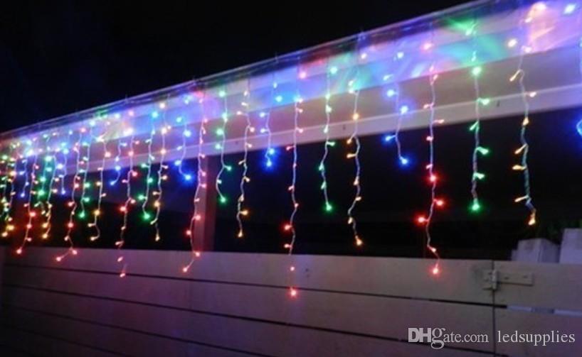 10M * 0,65 M 320LED carril de luz intermitente LED cadena lámparas carámbano cortina de Navidad jardín de su casa festival luz 110v-220v enchufe de Reino Unido de la UE del AU