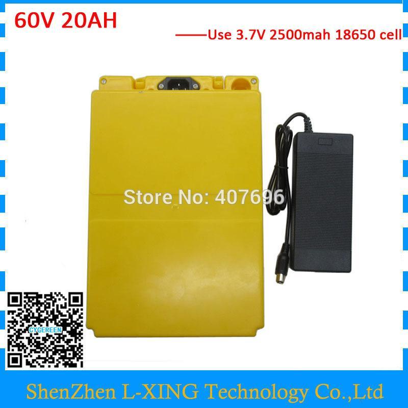 ЕС США без налога литиевая батарея 60V 20AH с пластиковым корпусом электрическая велосипедная батарея 60V20AH используйте зарядное устройство 3.7 V 2500mah Cell 2A