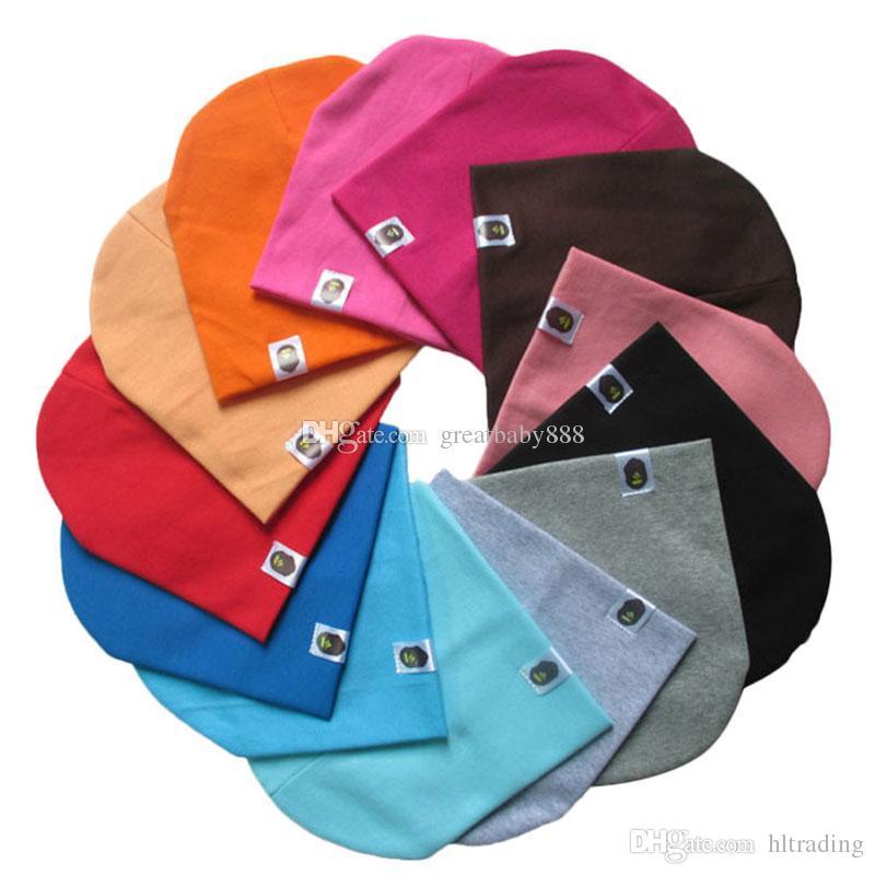 New Unisex Newborn Baby Boy Girls Cotton Hat Candy Color Hats Soft Cute infant Knit Beanie Caps 20 colors C3235