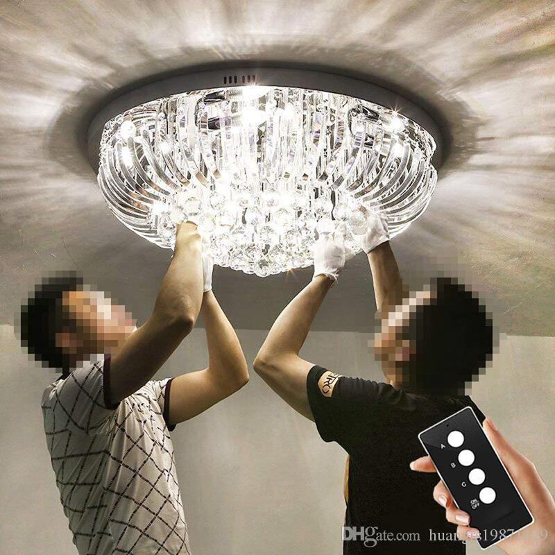 LED K9 cristal Lampes de plafond Chandeliers lampes suspendues avec des ampoules et télécommande pour Hôtel Villa Showroom Chambre Living Lumières Chambre