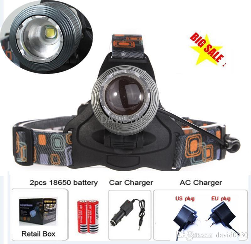 T6 Headlamp 2000 Lumens Cree XM-L T6 Head Lamp High Power LED Headlamp Head Torch Lamp Flashlight Head+car charger+battery