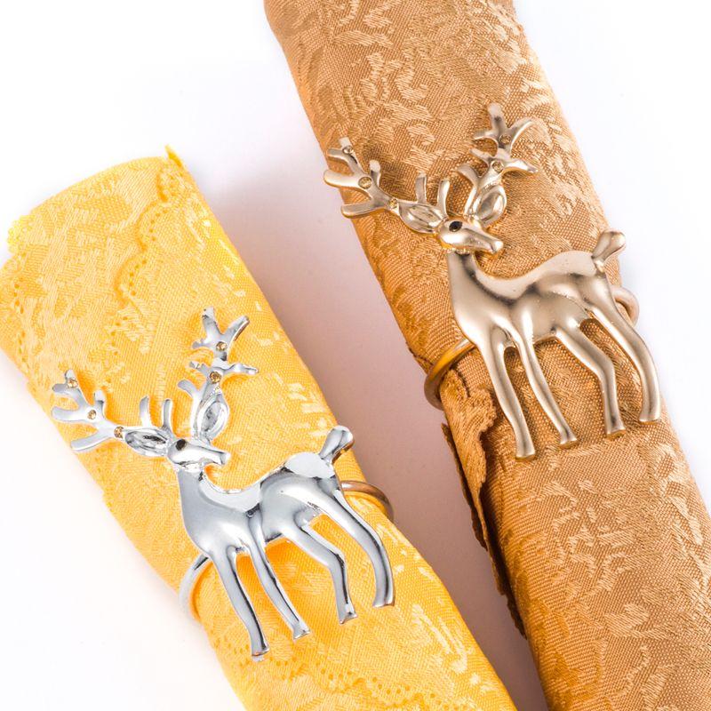 Los titulares de los ciervos anillos de servilleta Vajilla Servilleta para cenas de la cocina del hogar Decoración de la mesa de navidad