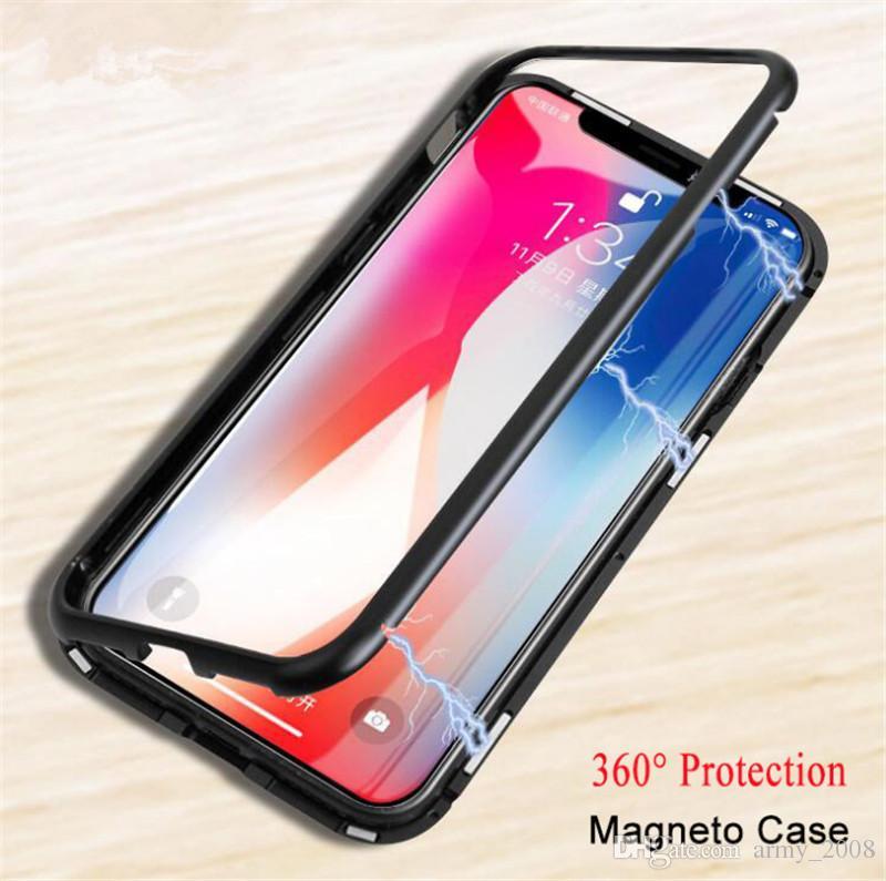 حالة الامتزاز المغناطيسي لفون 8 6 6S Plus غطاء شفاف مغلف بطبقة مغناطيسية مدمجة 360 لحالات iPhone X XS Max XR