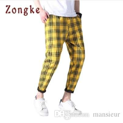 Nueva Plaid Pantalones Casuales Hombres Streetwear Mens Joggers Pantalones pantalon homme Harem Pant Hombre Pantalones pantalones hombre