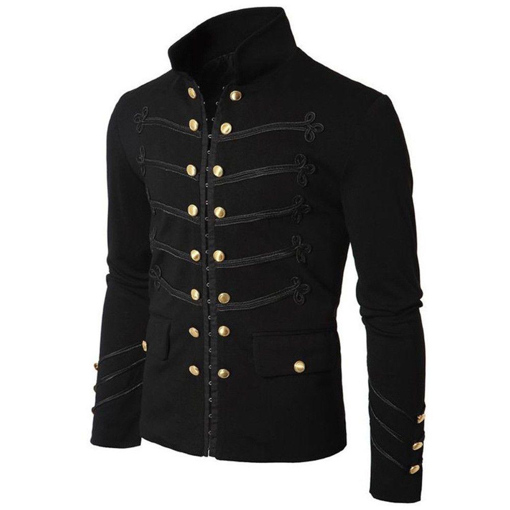 Automne Hiver Mode Hommes Gothique Parade Veste Rock Noir Steampunk Armée Manteau Hommes Casual Tunique Survêtement Plus La Taille