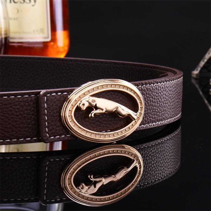 2017 new hot designer  leopard belt men high quality leather belt for men women casual fashion smooth buckle