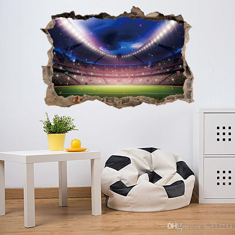 3D Stickers Aurora Football Stadium Lounge Bar Wall Sticker Wallpapers Waterproof Can Be Removable Bedroom Sitting Room Background Decor
