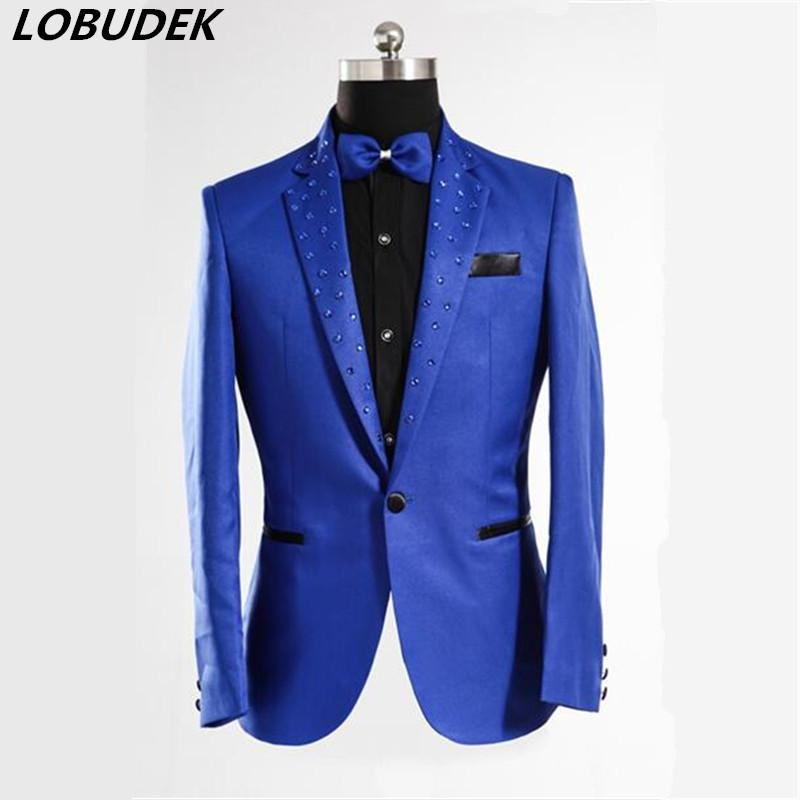 Royal Blue host Blazer jacketmale male costume Designer Fashion Men Casual Splicing Link Fence prom party for singer dancer