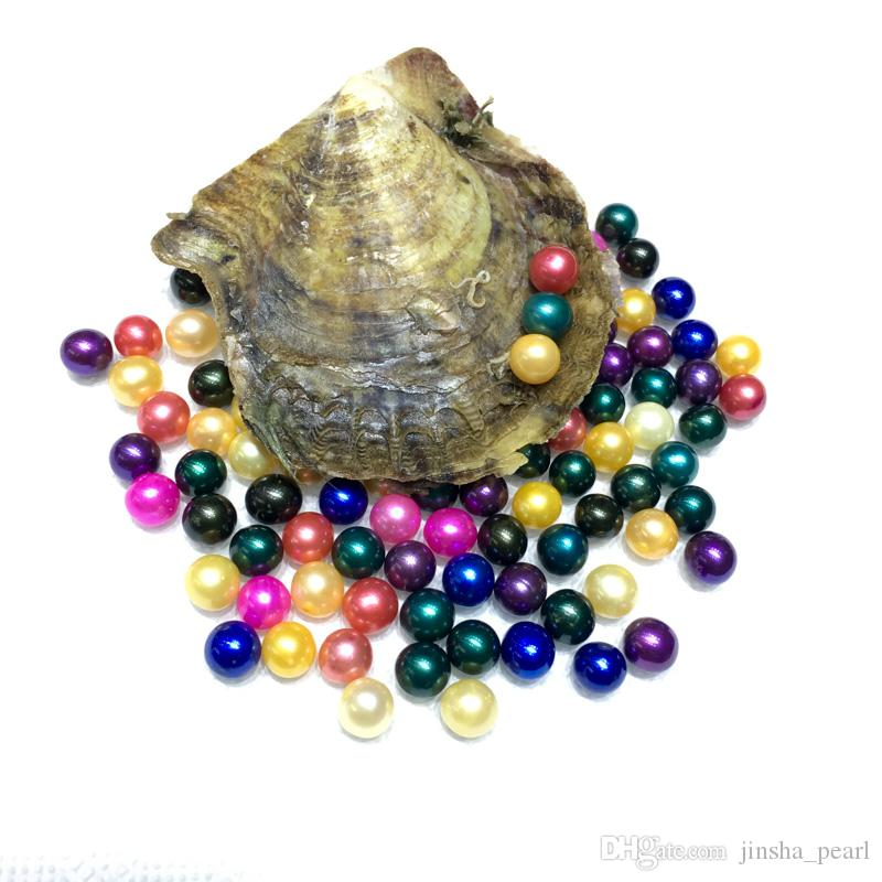 Free shipping 2018 DIY round akoya oyster Jewelry 6-7 mm 25color Seawater pearl oyster as mystery gift with Vacuum Package Free shipping