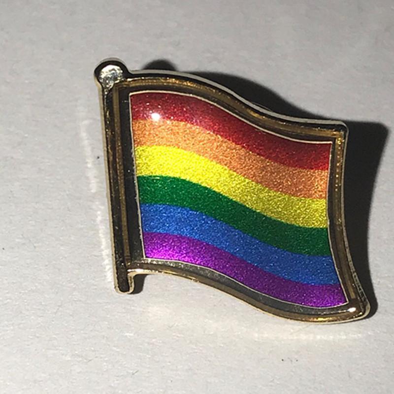 5 Adet Eşcinsel sembol rozet 24 K gerçek altın kaplama renkli Eşcinsel tahsil sanat metal rozeti hatıra amblem