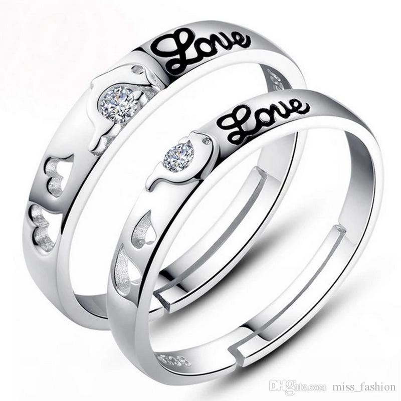 Man vrouw zilveren ring items bruiloft open ringen sieraden kristal paar hart letters ontwerp ringen nieuw