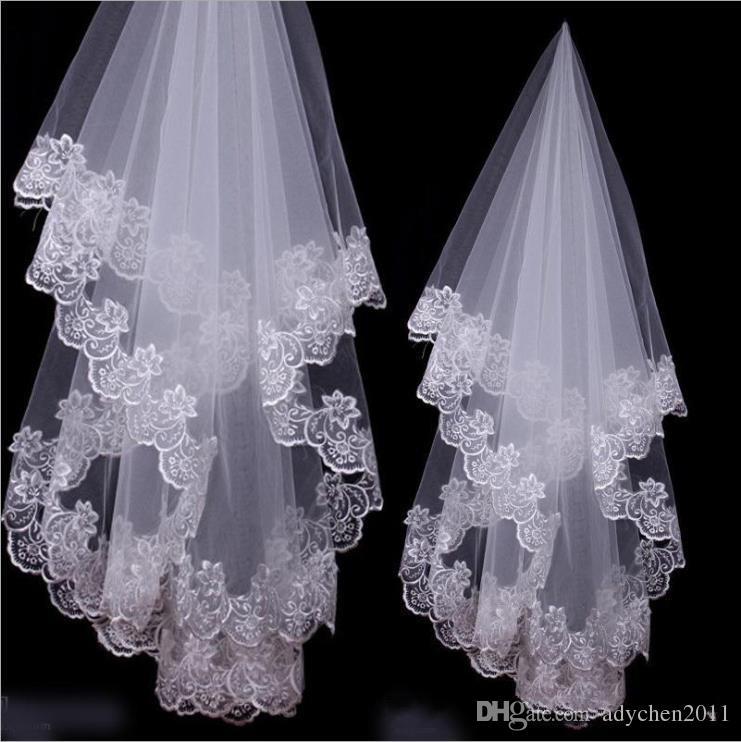Günstige Velos de Noiva Spitze Heiße Hochzeit Zubehör Kurze Brautschleier Weiß Elfenbein Eine Schicht Brautschleier Appliques Spitzenkante