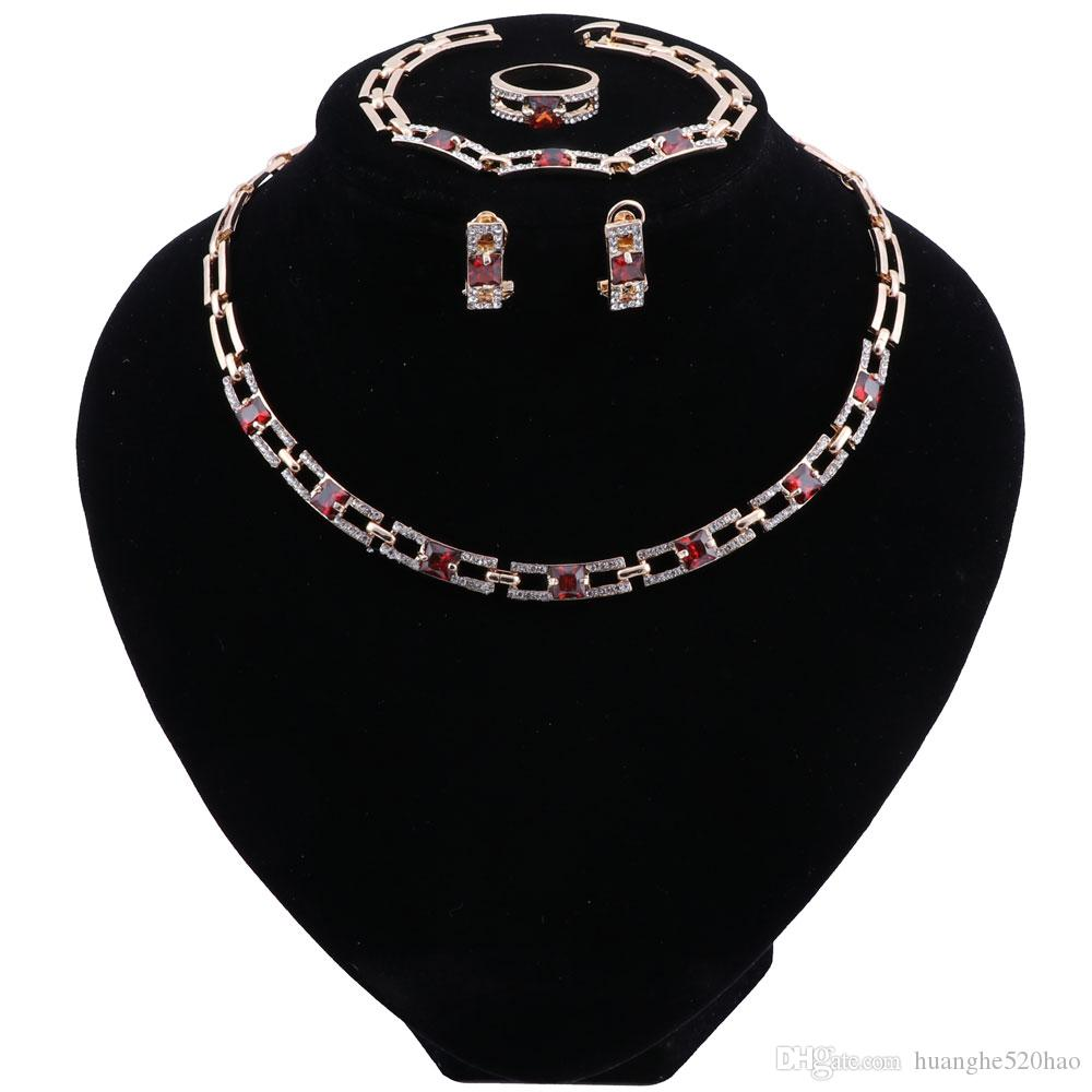 Rétro Dubaï ensembles de bijoux de mariée cristal or couleur ensembles de bijoux pour les femmes mariage nigérian ensemble de bijoux