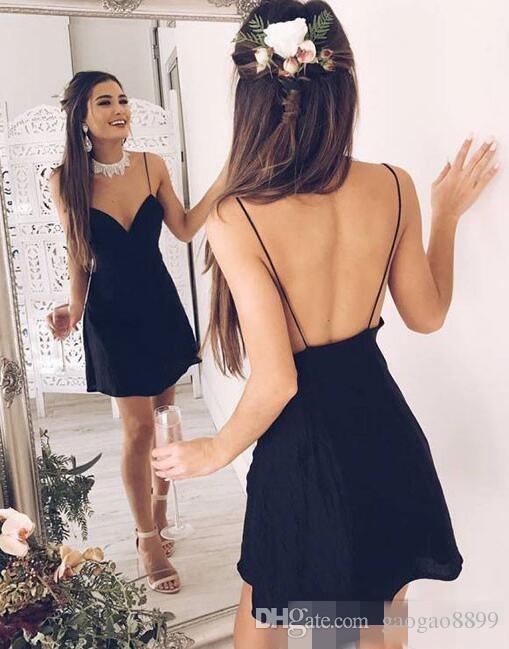Compre 2019 Vestidos De Fiesta Sencillos Cortos De Verano Sin Mangas Gasa Sin Espalda Escote En V Correas Espaguetis Vestidos De Cóctel 16