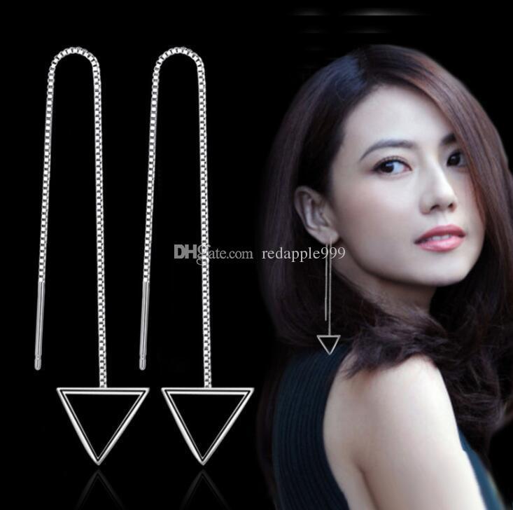 Moda prenses narin üçgen kare küpe uzun paragraf kadınlar için püskül kulak tel gümüş takı ürünleri