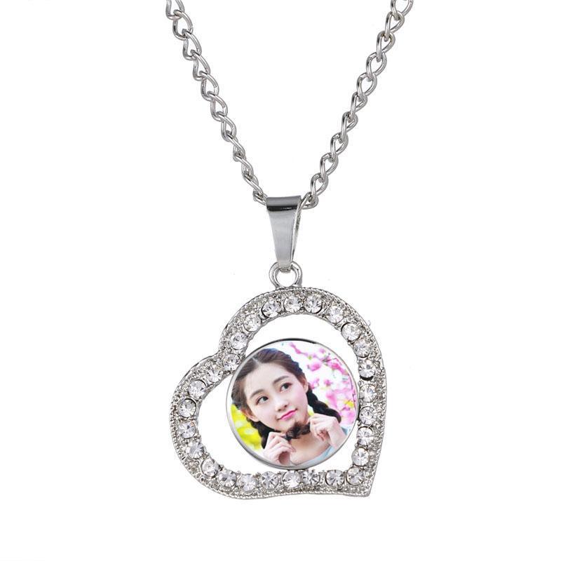 collares de corazón colgantes para la sublimación de tinte de moda botón mujeres collar colgante joyería cuadrada material de transferencia en caliente en blanco 3