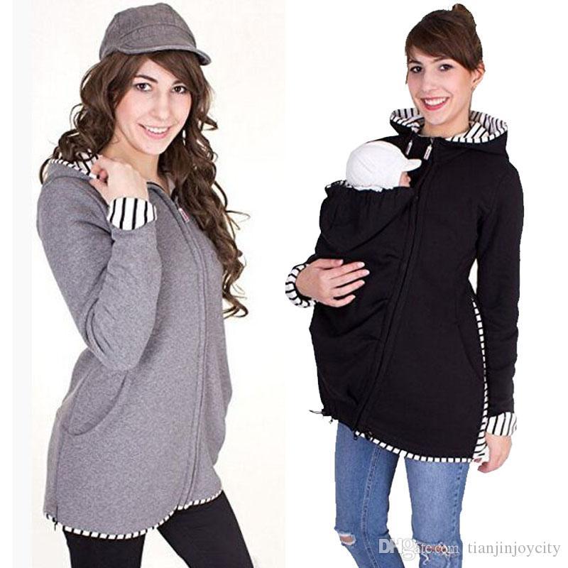 مقنع الأمومة هوديس معطف سترات الكنغر الطفل الناقل للنساء الحوامل ملابس النساء الحمل وبلوزات الخريف الشتاء الملبس