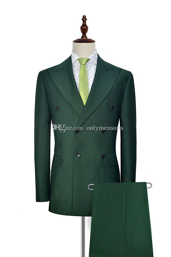 Abotoamento Groomsmen pico lapela do noivo escuro Smoking Green Men ternos de casamento / Prom melhor homem Blazer (jaqueta + calça + gravata) O174