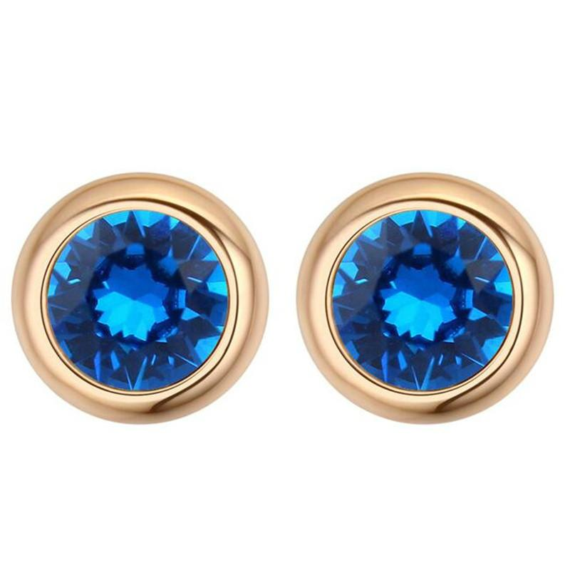 New Fashion Stud Earrings For Women Blue Crystal from Swarovski Elements Round Colorful Champagne Gold Plated 24248
