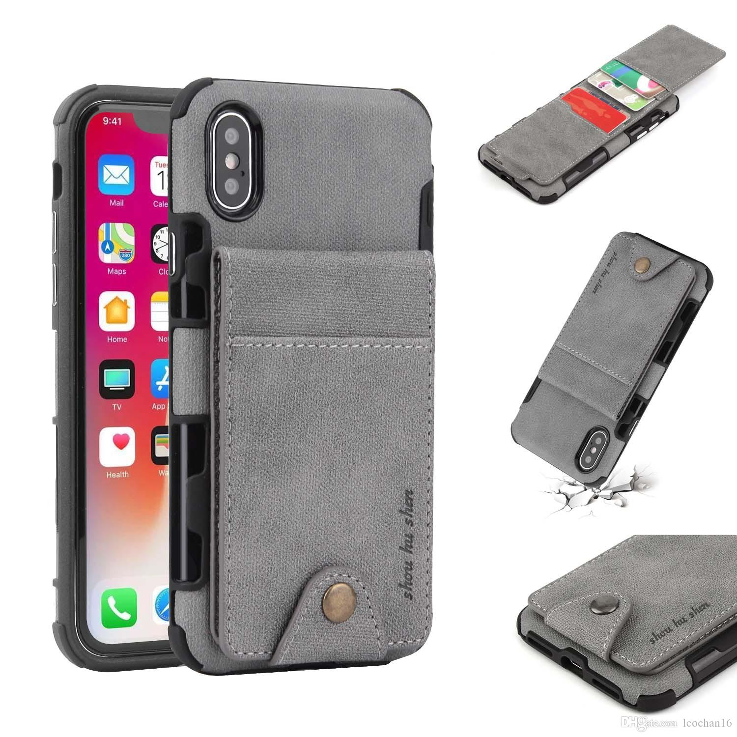 finest selection 3cdb9 4404e Up And Down Leather Wallet Clutch Shell Flip Cover Multi Functional Phone  Case For IPhone X 6 7 8 Samsung S8 S9 S8+ S9+ Cell Phone Case Wholesale ...
