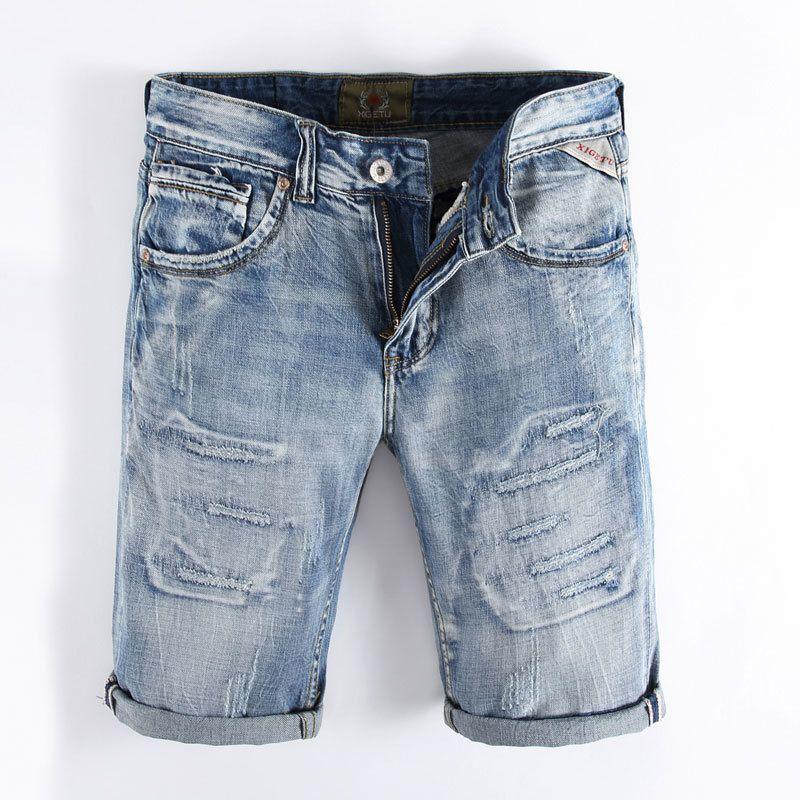 2018 été bleu clair couleur Denim Shorts Designer de mode Short déchiré Jeans Hommes Marque détruit Jeans Short!