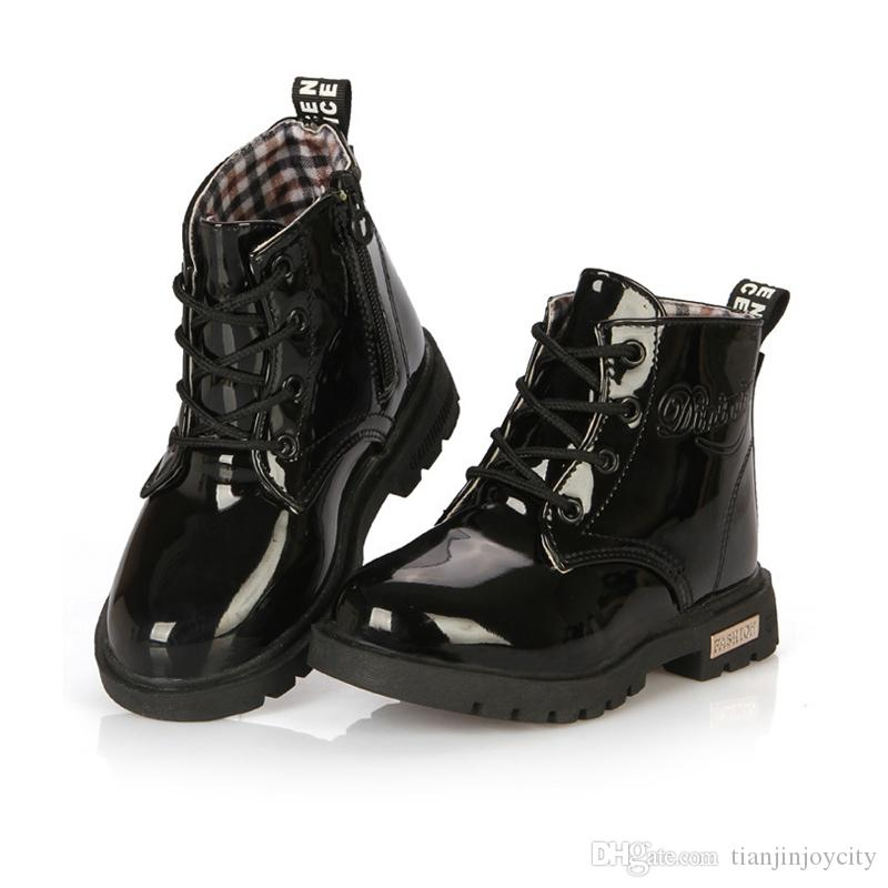 kids boots Boys girls Rubber shoes Autumn Winter PU Leather Waterproof warm Martin Boots Children Boot Fashion Sneaker for girls