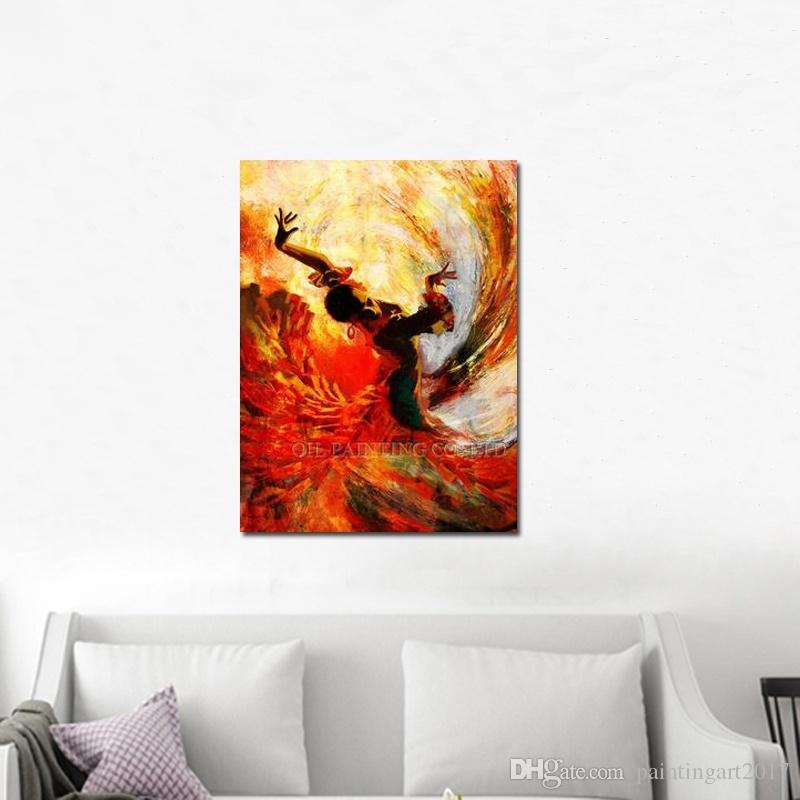 Top Artist Handmade High Quality Abstract Spanish Dancer Oil Painting on Canvas Dancing Flamenco Dancer Art Picture Oil Painting