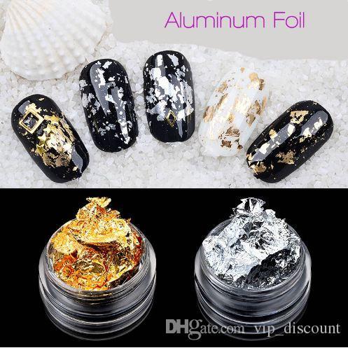 New Nail Art Décorations feuille d'aluminium autocollants Nail Gel UV Nail Art Accessoires de bricolage Or Argent Sticker manucure outil