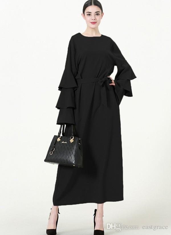 2018 Eleganckie Kobiety Muzułmańskie Suknie Abaya Arabska Turecka Dress Dubai Muzułmanie Kobiety Plus Size Sukienka z 3 kolorami