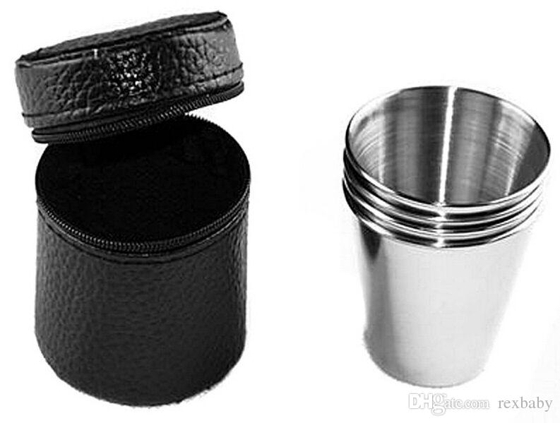 4pcs 70ml Cups Set Stainless Steel Cups Wine Beer Tea Coffee Whiskey Mugs Outdoor Camping Hiking Cup With Black Bag