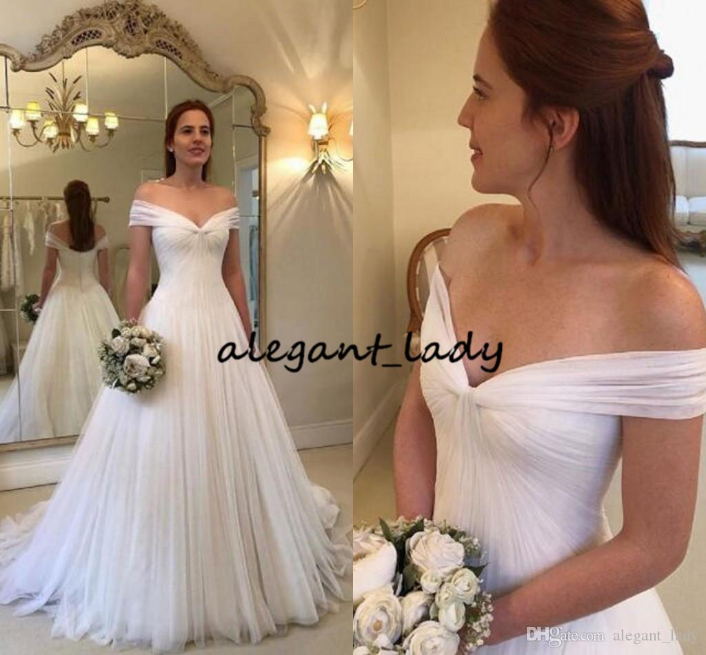 Greek Grecian Goddess Wedding Dresses 2019 Simple Design Off Shoulder Fairy Tulle Sweep Train Bohemian Garden Cheap Bridal Dress