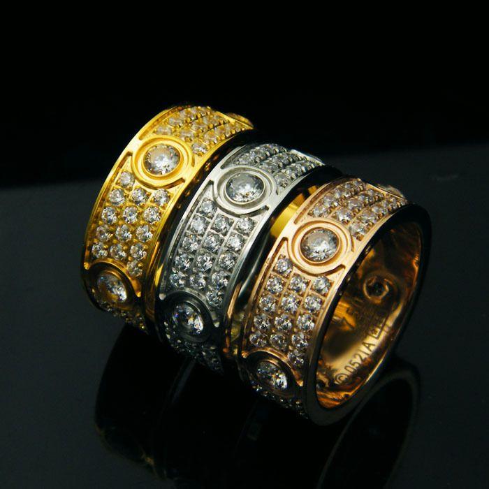 도매 티타늄 강철 다이아몬드를 가진 6 개의 교련 여자를위한 사랑 반지 Men Couples Anel 입방 지르코니아 결혼 반지 밴드 Bague Femme