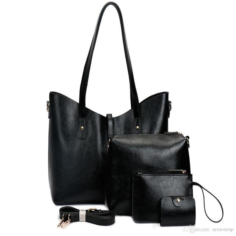 New 4PCS Set Designer Women Fashion Bags Ladies Handbag Sets Leather Shoulder Office Tote Bag Cheap Womens Shell Handbags Sale Hand bag