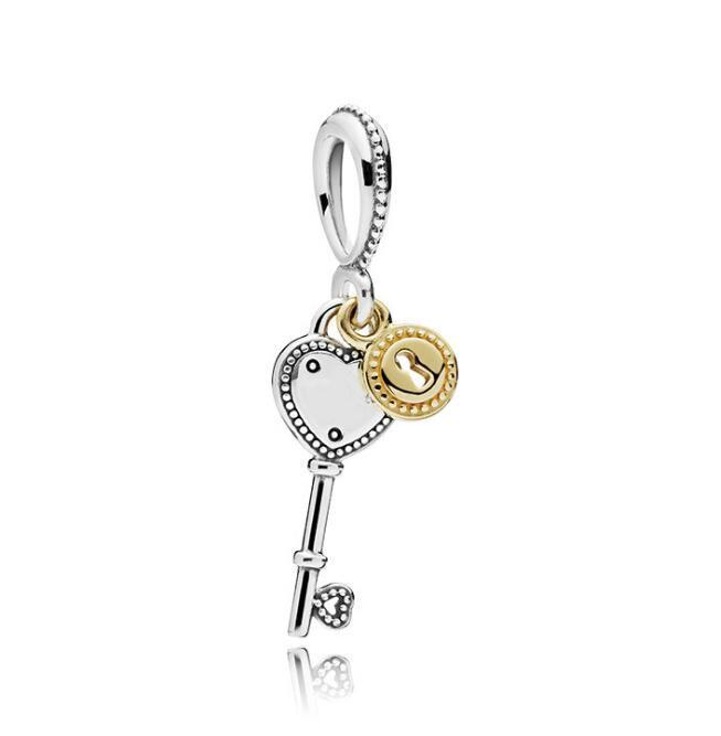 Serve para panda cobra pulseiras 20 pcs rosa chave e coração fivela charme bead rolha beads para atacado diy colar esterlina europeia