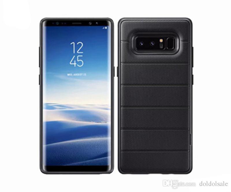 50 Pcs De Luxe TPU Cas de Couverture Arrière Stealth Bracket pour Samsung Galaxy Note 8 Cas de Téléphone