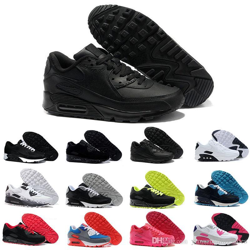 أحذية رجالي أحذية كلاسيكية 90 الرجال والنساء الاحذية أسود أحمر أبيض الرياضة المدرب آلر وسادة سطح تنفس الأحذية الرياضية 36-46