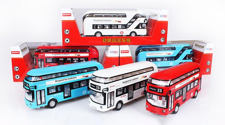 Alloy Car Model Toy, London Two-deck Bus with Light Sound, Pull-back, High Simulation, for Party Kid' Birthday' Gift, Collection, Decoration