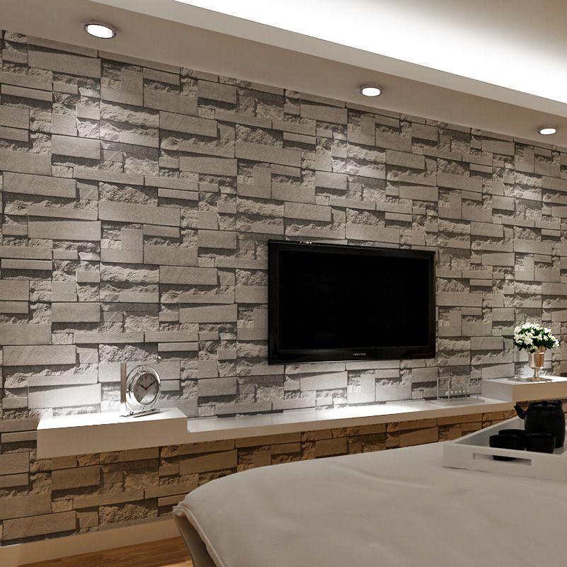 Tijolo empilhado 3D Pedra Papel De Parede Modern Wallcovering PVC Rolo De Papel De Parede Parede De Tijolo Fundo Papel De Parede Cinza Para Sala de estar