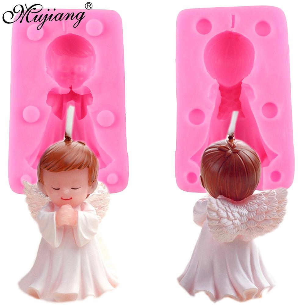 3D Angel Boy Baby Birthday Cake Candle Mold Soap Silicone Molds Fondant Cake Decorating Chocolate Candy Polymer Clay Moulds