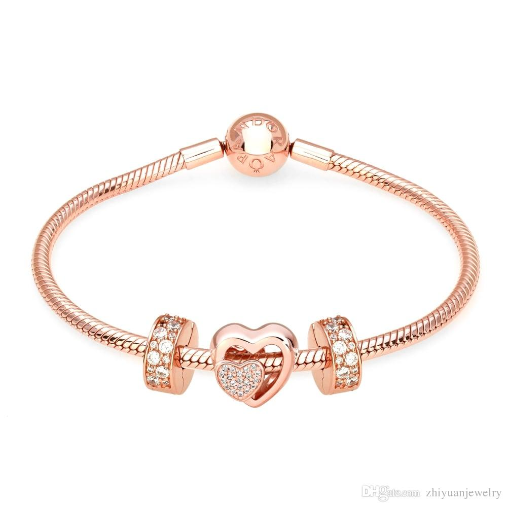 pandora bracelet rose gold charms