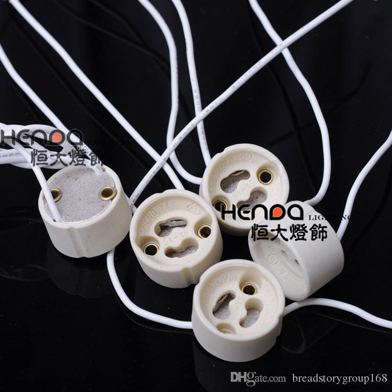 GU10 Ceramic Lamp Holder LED Light Base Spotlight Lamp Socket Aging Base with High Temperature Resistant Silicone Wire