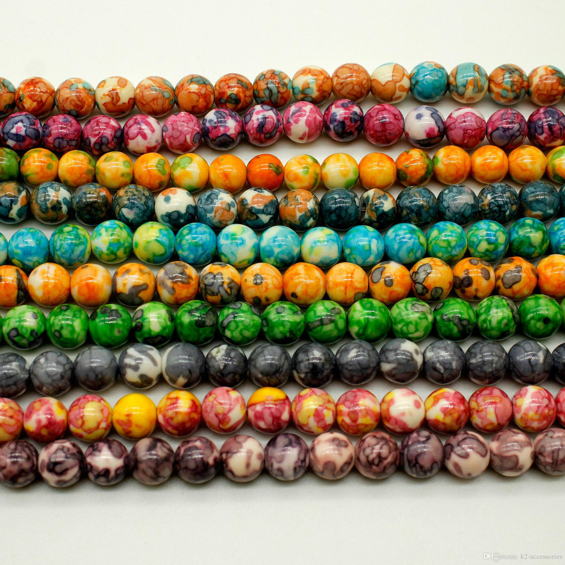 65pcs/lot 6mm Multi Color RAIN stone Beads Natural Stone Round Loose Beads DIY Jewelry Bracelet Making colorful Stone Bead