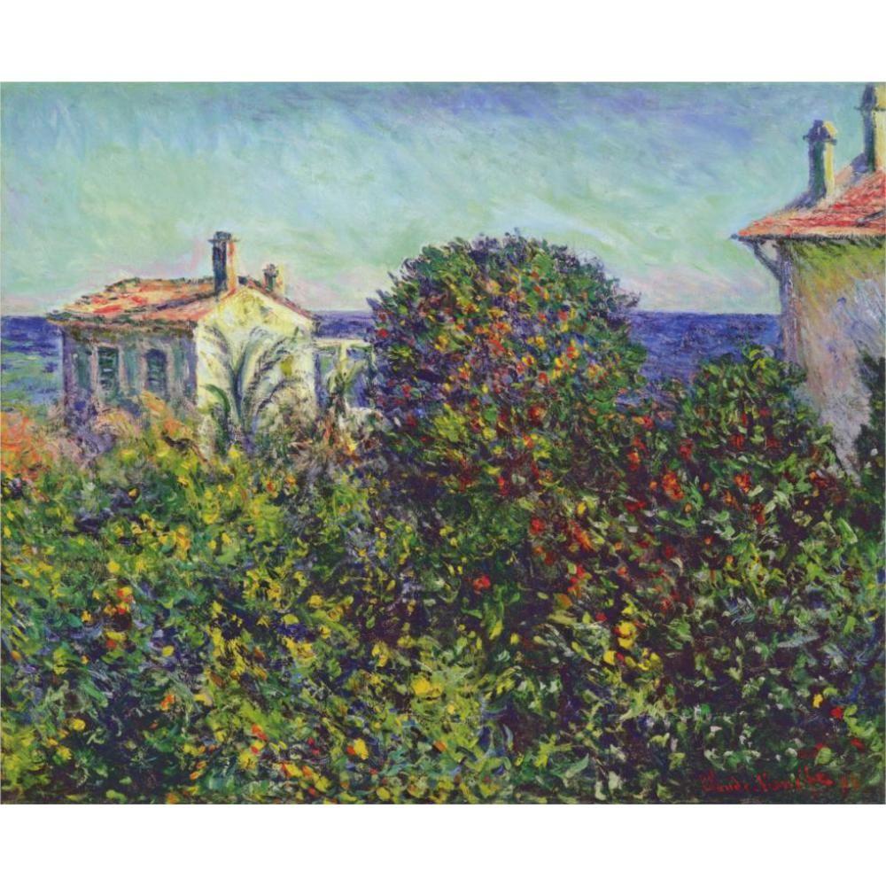 Dipinti a mano dipinti ad olio su tela di Claude Monet Bordighera, la casa del giardiniere arte moderna Paesaggio decorazione murale