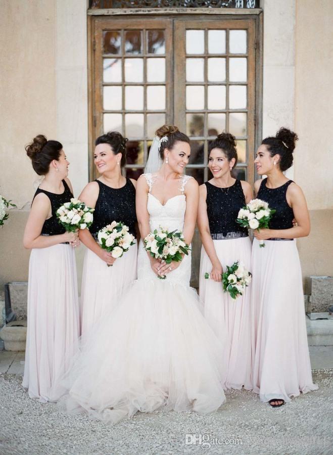 Mixed Color Black White Bridesmaid Dresses Beading Chiffon Floor ...